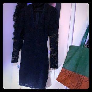 Black deep V Lace mini dress